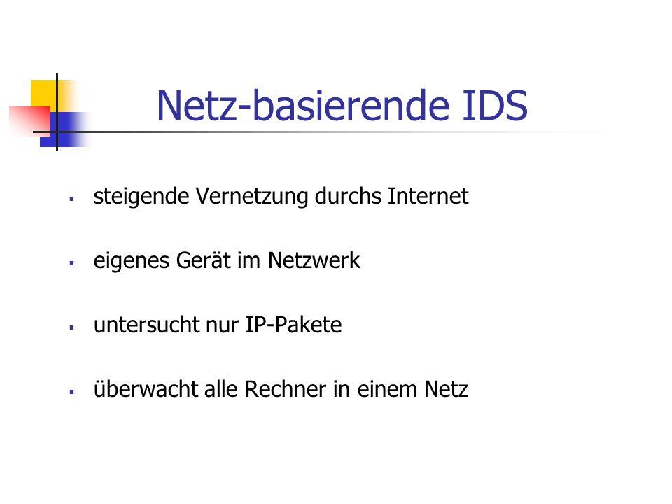 Netz-basierende IDS steigende Vernetzung durchs Internet eigenes Gerät im Netzwerk untersucht nur IP-Pakete überwacht alle Rechner in einem Netz