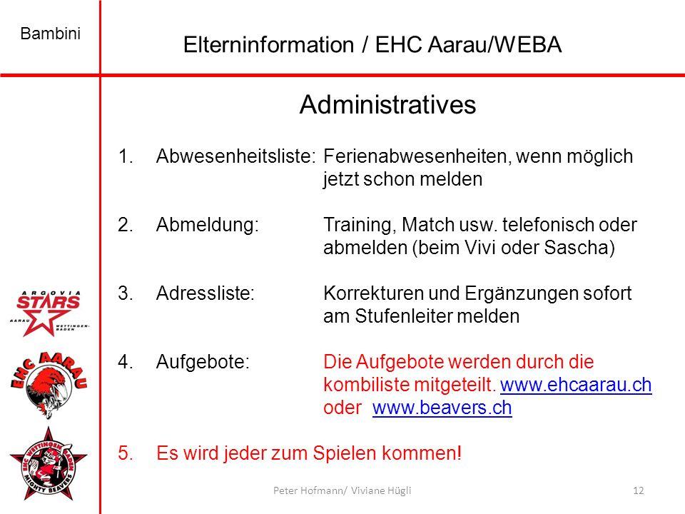 Bambini 12Peter Hofmann/ Viviane Hügli Administratives 1.Abwesenheitsliste: Ferienabwesenheiten, wenn möglich jetzt schon melden 2.Abmeldung:Training, Match usw.