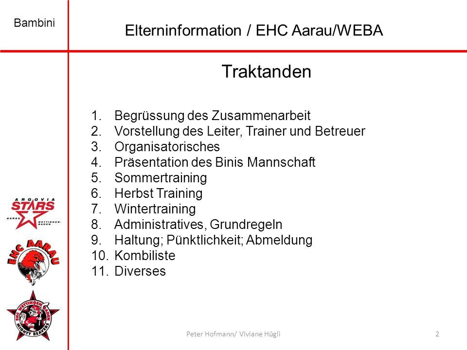 Bambini 3Peter Hofmann/ Viviane Hügli Was wird neu 1.Wir haben zusammen mit WEBA eine Bini Mannschaft.