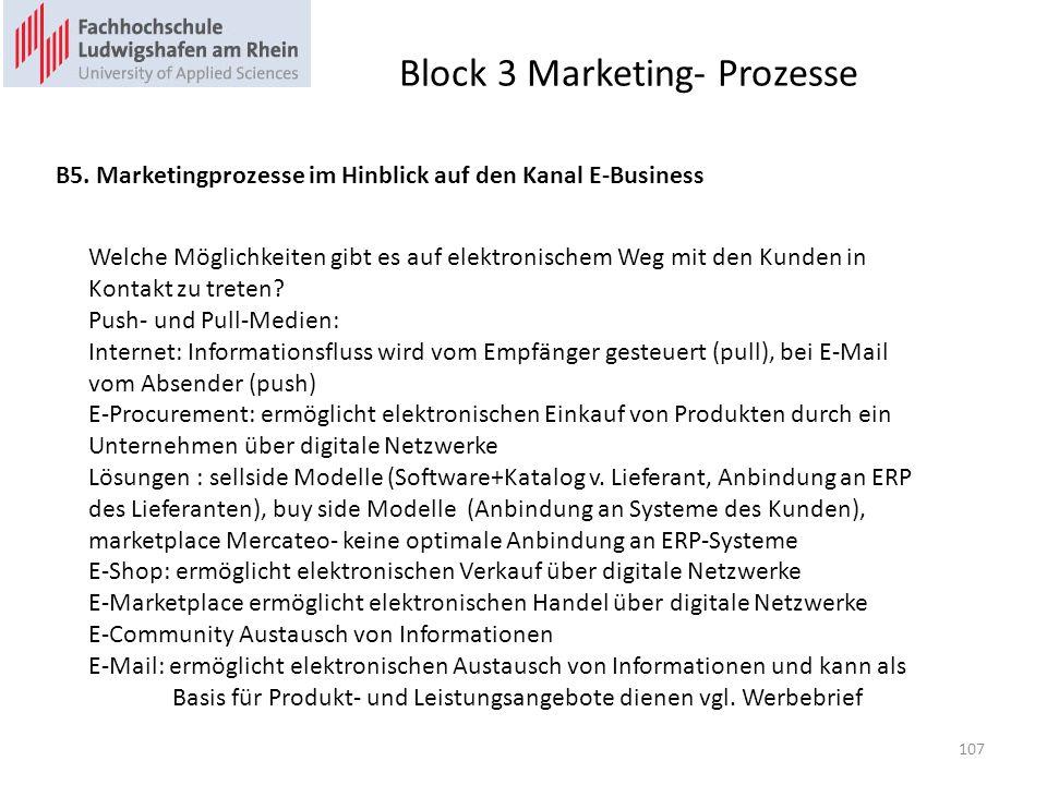 Block 3 Marketing- Prozesse B5. Marketingprozesse im Hinblick auf den Kanal E-Business Welche Möglichkeiten gibt es auf elektronischem Weg mit den Kun