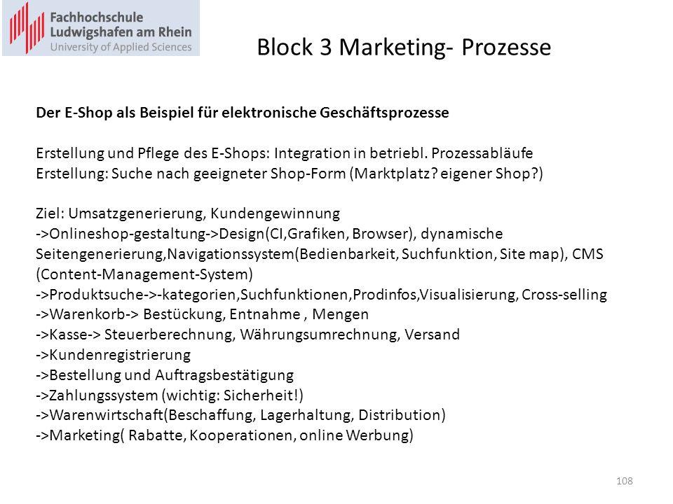 Block 3 Marketing- Prozesse Der E-Shop als Beispiel für elektronische Geschäftsprozesse Erstellung und Pflege des E-Shops: Integration in betriebl. Pr
