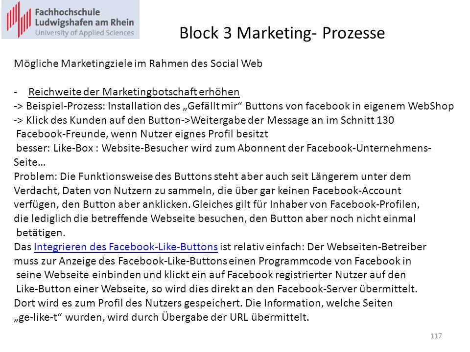 Block 3 Marketing- Prozesse Mögliche Marketingziele im Rahmen des Social Web -Reichweite der Marketingbotschaft erhöhen -> Beispiel-Prozess: Installat