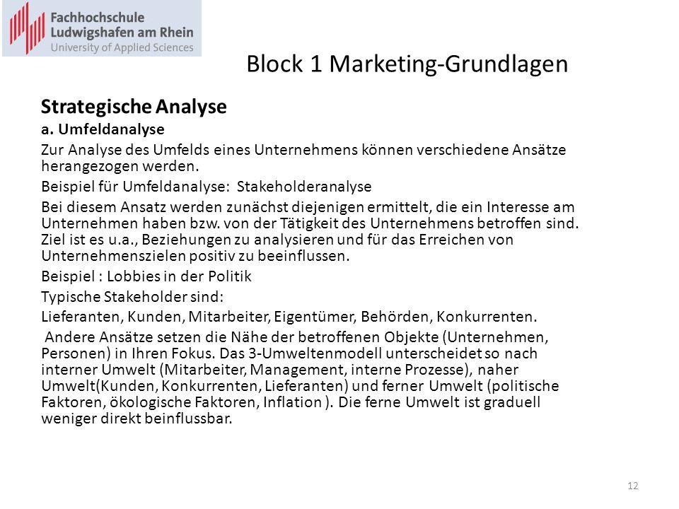 Block 1 Marketing-Grundlagen Strategische Analyse a. Umfeldanalyse Zur Analyse des Umfelds eines Unternehmens können verschiedene Ansätze herangezogen