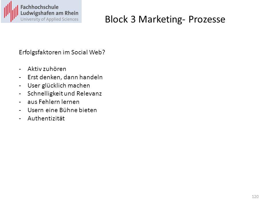 Block 3 Marketing- Prozesse Erfolgsfaktoren im Social Web? -Aktiv zuhören -Erst denken, dann handeln -User glücklich machen -Schnelligkeit und Relevan