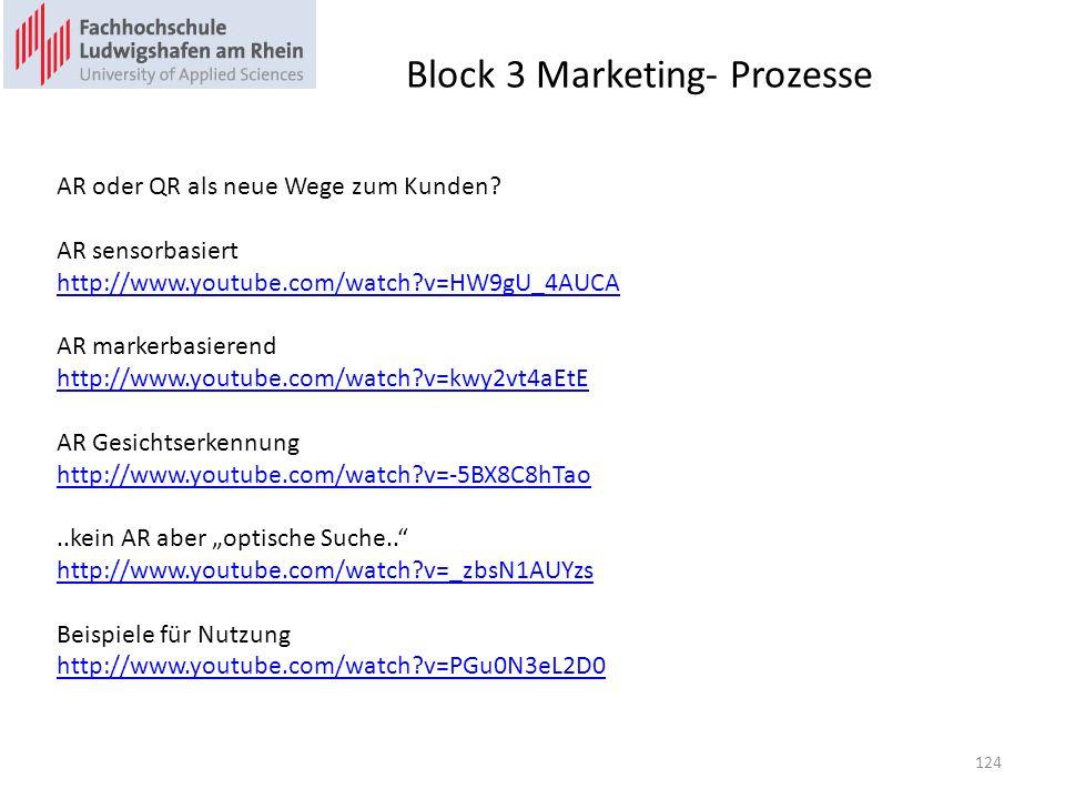 Block 3 Marketing- Prozesse AR oder QR als neue Wege zum Kunden? AR sensorbasiert http://www.youtube.com/watch?v=HW9gU_4AUCA AR markerbasierend http:/