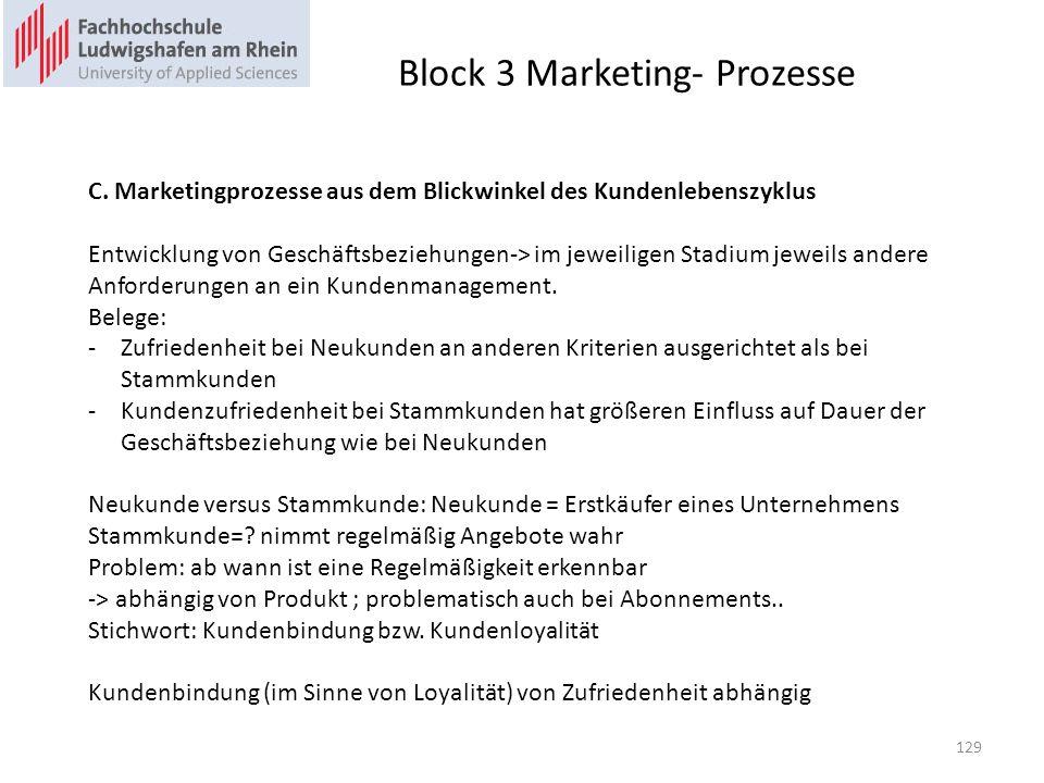 Block 3 Marketing- Prozesse C. Marketingprozesse aus dem Blickwinkel des Kundenlebenszyklus Entwicklung von Geschäftsbeziehungen-> im jeweiligen Stadi
