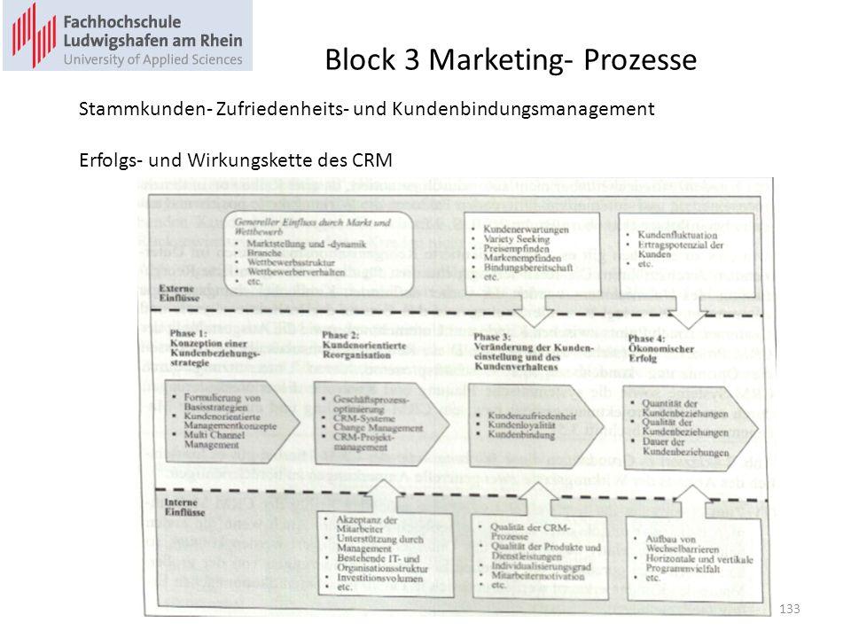 Block 3 Marketing- Prozesse Stammkunden- Zufriedenheits- und Kundenbindungsmanagement Erfolgs- und Wirkungskette des CRM 133