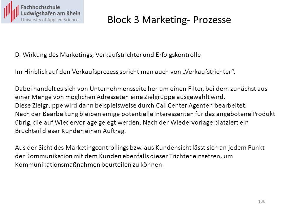 Block 3 Marketing- Prozesse D. Wirkung des Marketings, Verkaufstrichter und Erfolgskontrolle Im Hinblick auf den Verkaufsprozess spricht man auch von