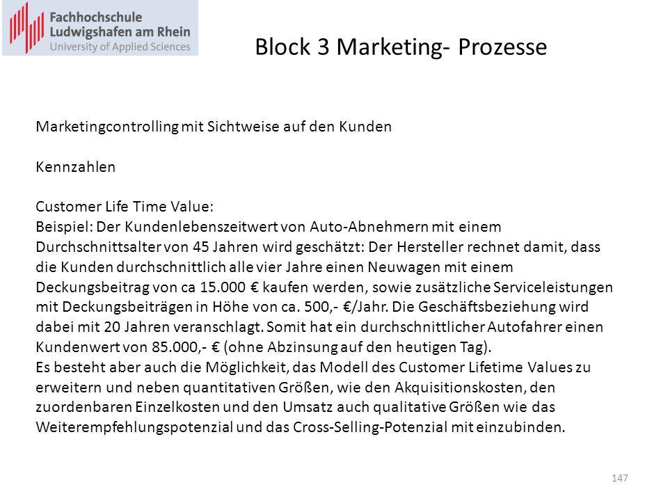 Block 3 Marketing- Prozesse Marketingcontrolling mit Sichtweise auf den Kunden Kennzahlen Customer Life Time Value: Beispiel: Der Kundenlebenszeitwert