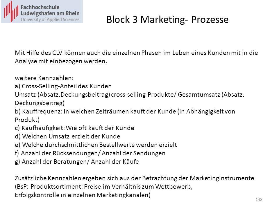 Block 3 Marketing- Prozesse Mit Hilfe des CLV können auch die einzelnen Phasen im Leben eines Kunden mit in die Analyse mit einbezogen werden. weitere