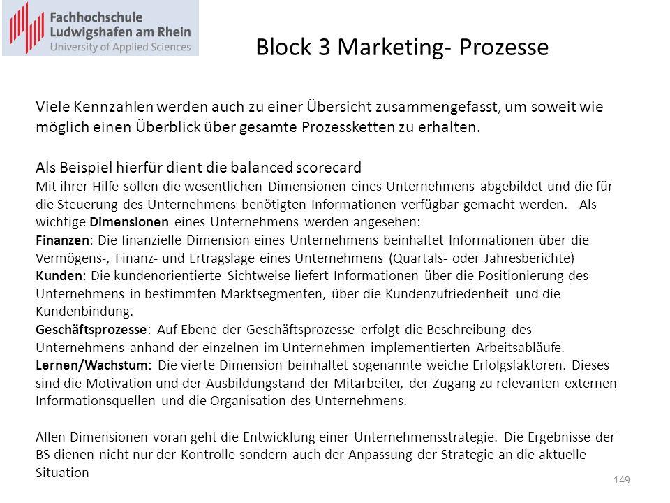 Block 3 Marketing- Prozesse Viele Kennzahlen werden auch zu einer Übersicht zusammengefasst, um soweit wie möglich einen Überblick über gesamte Prozes