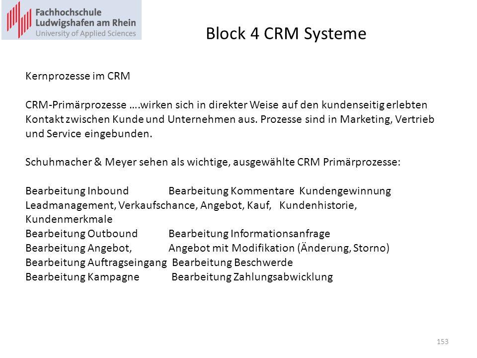 Block 4 CRM Systeme Kernprozesse im CRM CRM-Primärprozesse ….wirken sich in direkter Weise auf den kundenseitig erlebten Kontakt zwischen Kunde und Un