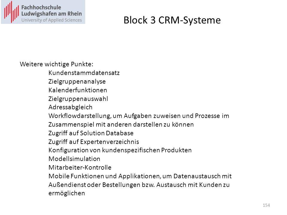 Block 3 CRM-Systeme Weitere wichtige Punkte: Kundenstammdatensatz Zielgruppenanalyse Kalenderfunktionen Zielgruppenauswahl Adressabgleich Workflowdars