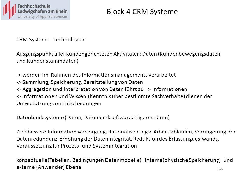 Block 4 CRM Systeme 165 CRM Systeme Technologien Ausgangspunkt aller kundengerichteten Aktivitäten: Daten (Kundenbewegungsdaten und Kundenstammdaten)
