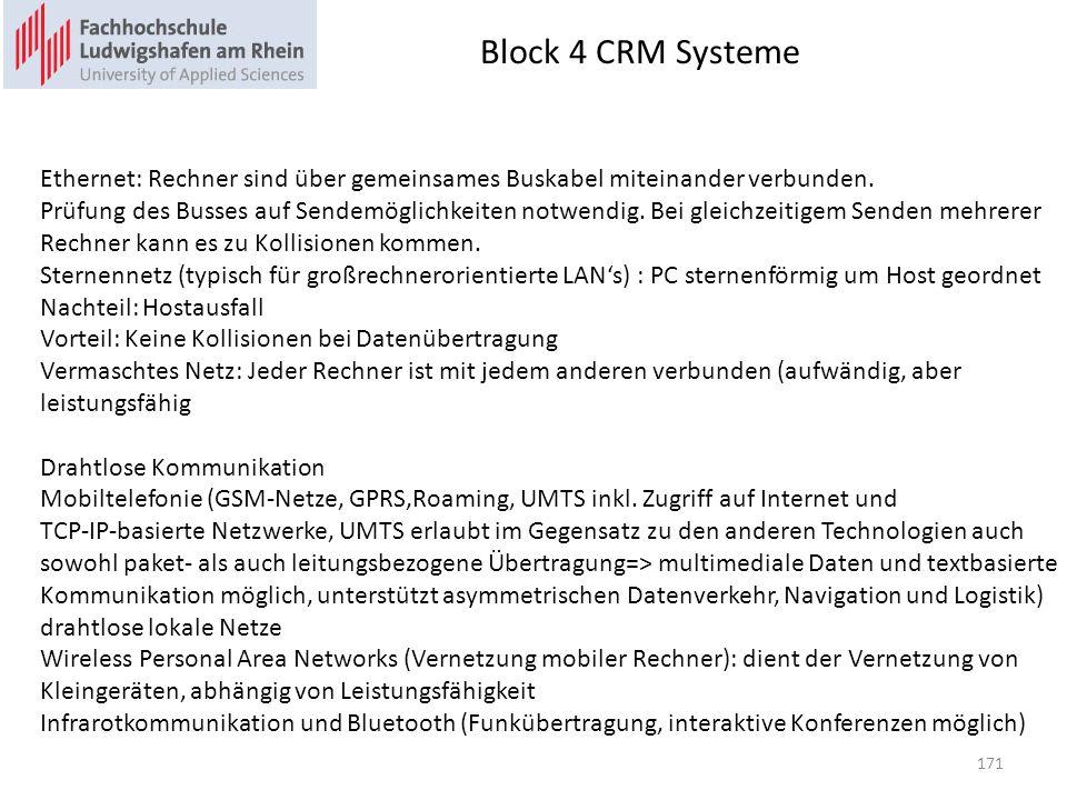 Block 4 CRM Systeme 171 Ethernet: Rechner sind über gemeinsames Buskabel miteinander verbunden. Prüfung des Busses auf Sendemöglichkeiten notwendig. B