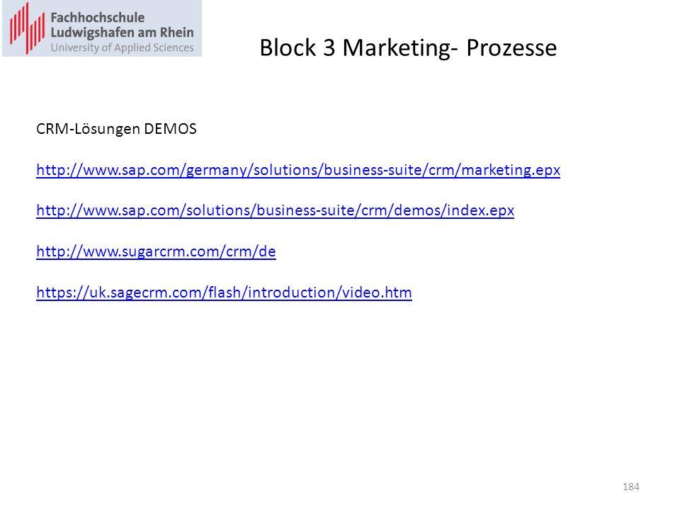 Block 3 Marketing- Prozesse CRM-Lösungen DEMOS http://www.sap.com/germany/solutions/business-suite/crm/marketing.epx http://www.sap.com/solutions/busi