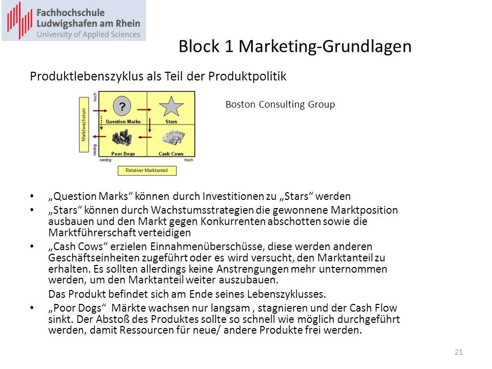 Block 1 Marketing-Grundlagen Produktlebenszyklus als Teil der Produktpolitik Boston Consulting Group Question Marks können durch Investitionen zu Star