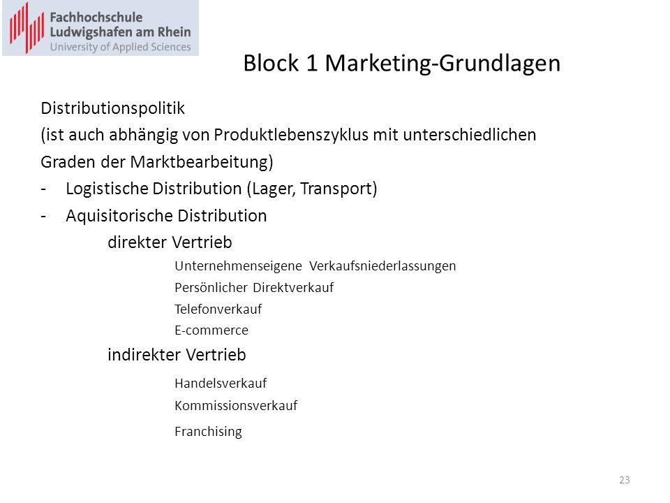 Block 1 Marketing-Grundlagen Distributionspolitik (ist auch abhängig von Produktlebenszyklus mit unterschiedlichen Graden der Marktbearbeitung) -Logis