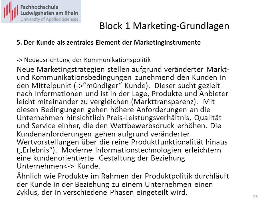 Block 1 Marketing-Grundlagen 5. Der Kunde als zentrales Element der Marketinginstrumente -> Neuausrichtung der Kommunikationspolitik Neue Marketingstr