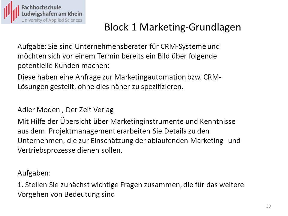 Block 1 Marketing-Grundlagen Aufgabe: Sie sind Unternehmensberater für CRM-Systeme und möchten sich vor einem Termin bereits ein Bild über folgende po