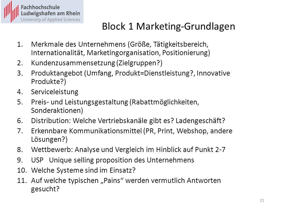 Block 1 Marketing-Grundlagen 1.Merkmale des Unternehmens (Größe, Tätigkeitsbereich, Internationalität, Marketingorganisation, Positionierung) 2.Kunden