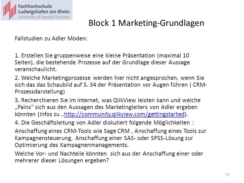 Block 1 Marketing-Grundlagen Fallstudien zu Adler Moden: 1. Erstellen Sie gruppenweise eine kleine Präsentation (maximal 10 Seiten), die bestehende Pr