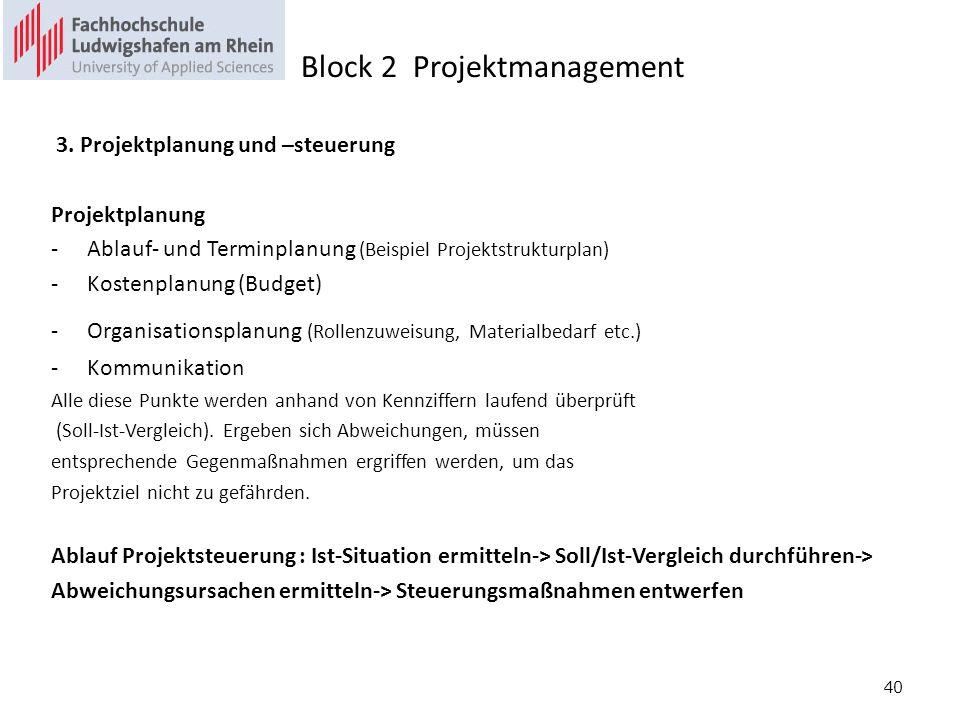 40 3. Projektplanung und –steuerung Projektplanung -Ablauf- und Terminplanung (Beispiel Projektstrukturplan) -Kostenplanung (Budget) -Organisationspla