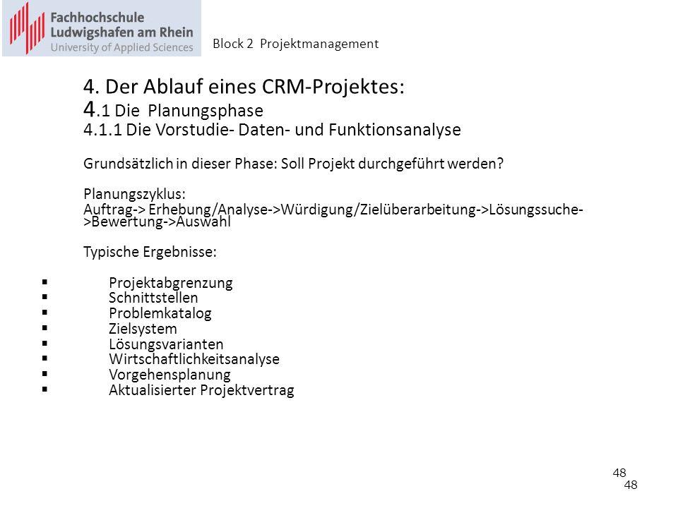 48 4. Der Ablauf eines CRM-Projektes: 4.1 Die Planungsphase 4.1.1 Die Vorstudie- Daten- und Funktionsanalyse Grundsätzlich in dieser Phase: Soll Proje