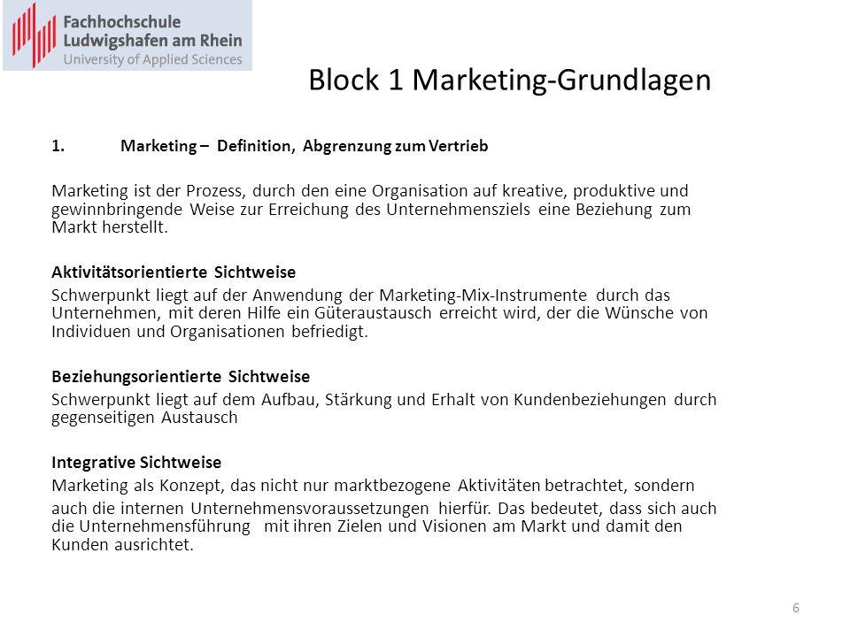 Block 1 Marketing-Grundlagen 1.Marketing – Definition, Abgrenzung zum Vertrieb Marketing ist der Prozess, durch den eine Organisation auf kreative, pr
