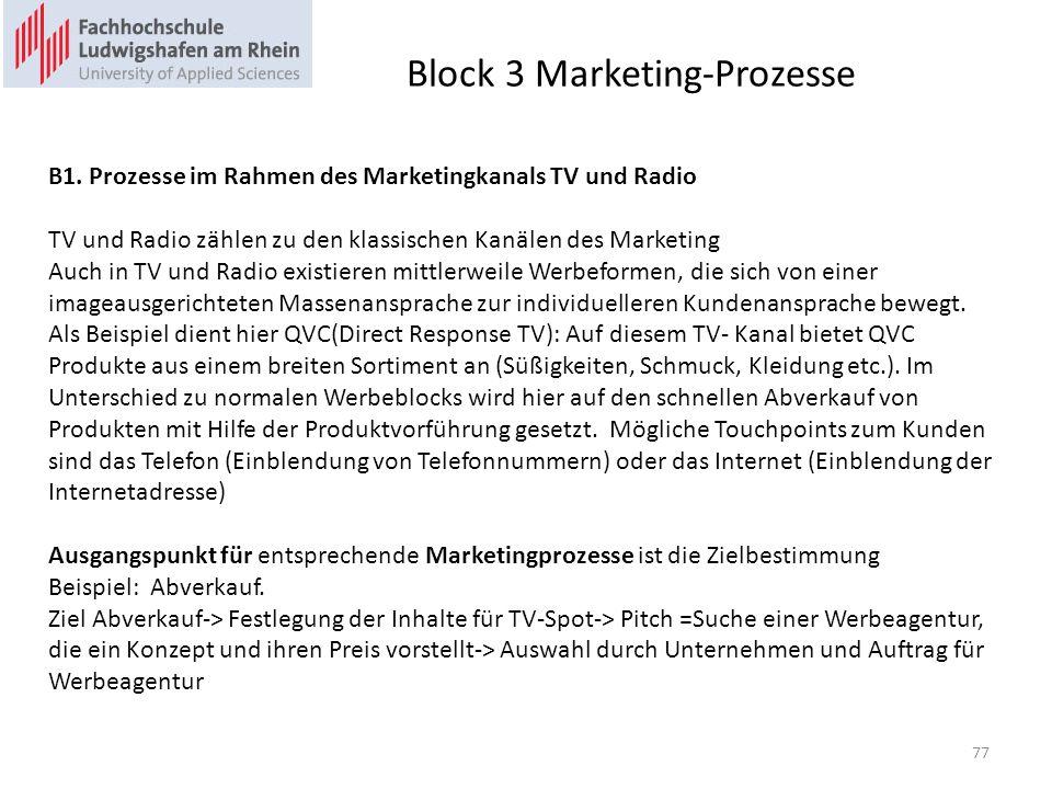 Block 3 Marketing-Prozesse B1. Prozesse im Rahmen des Marketingkanals TV und Radio TV und Radio zählen zu den klassischen Kanälen des Marketing Auch i