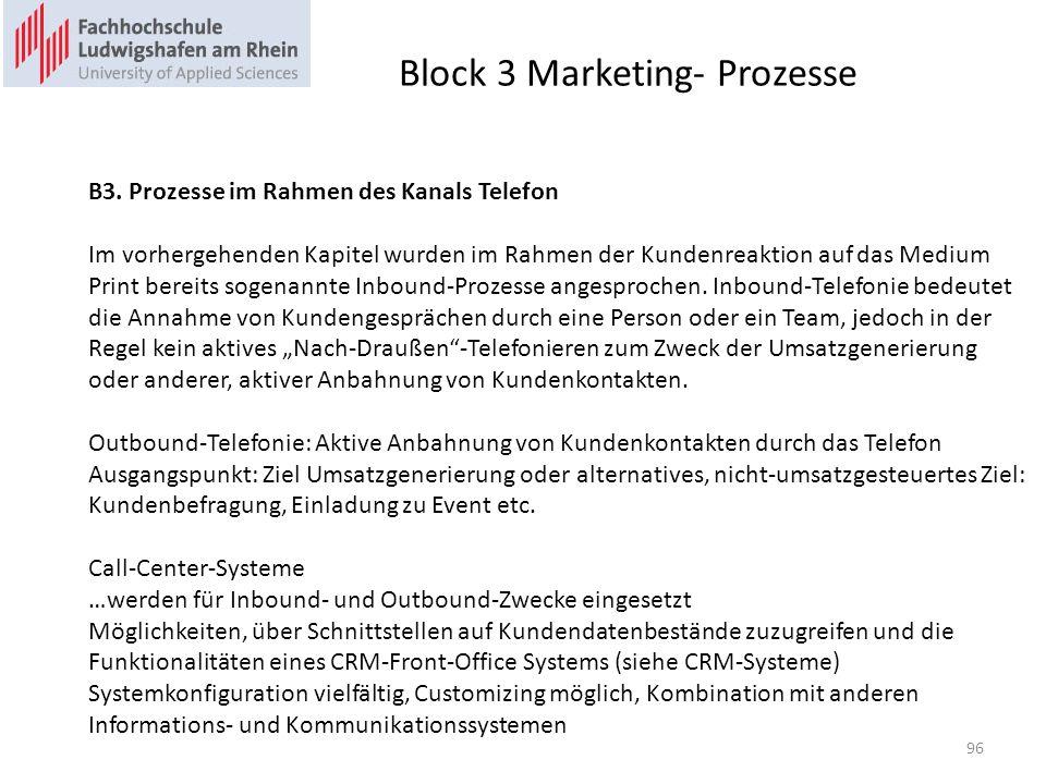 Block 3 Marketing- Prozesse B3. Prozesse im Rahmen des Kanals Telefon Im vorhergehenden Kapitel wurden im Rahmen der Kundenreaktion auf das Medium Pri