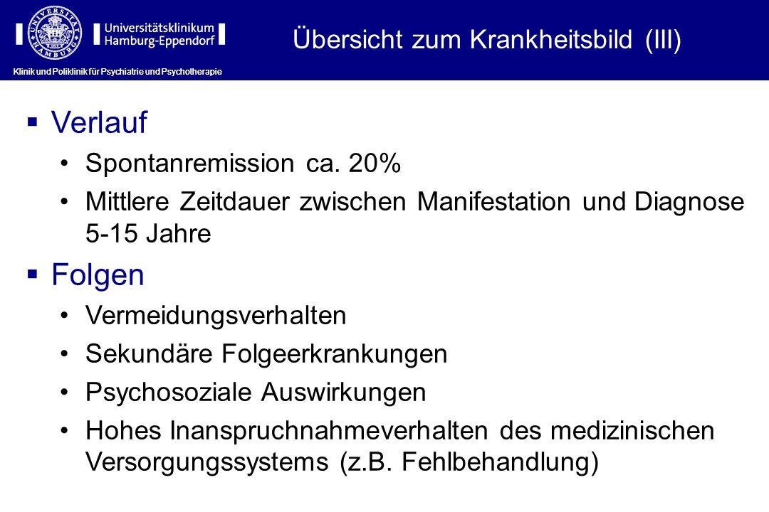 Klinik und Poliklinik für Psychiatrie und Psychotherapie Verlauf Spontanremission ca.
