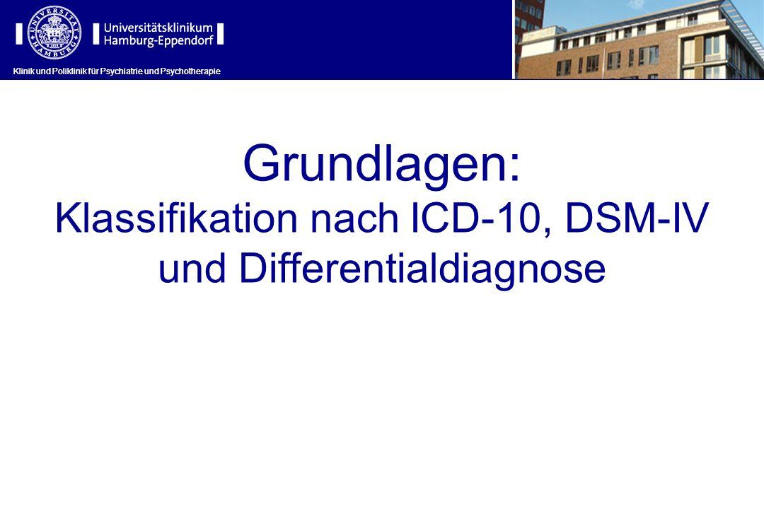 Grundlagen: Klassifikation nach ICD-10, DSM-IV und Differentialdiagnose Klinik und Poliklinik für Psychiatrie und Psychotherapie