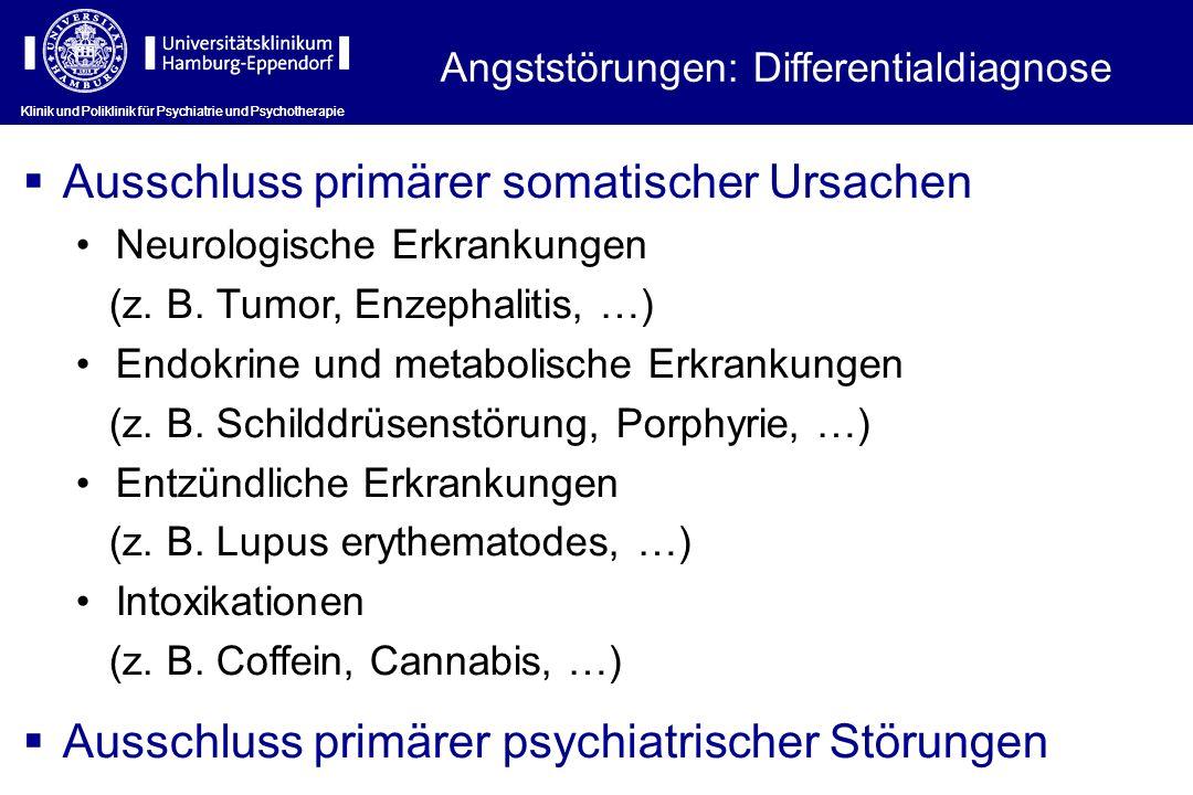 Klinik und Poliklinik für Psychiatrie und Psychotherapie Angststörungen: Differentialdiagnose Ausschluss primärer somatischer Ursachen Neurologische Erkrankungen (z.
