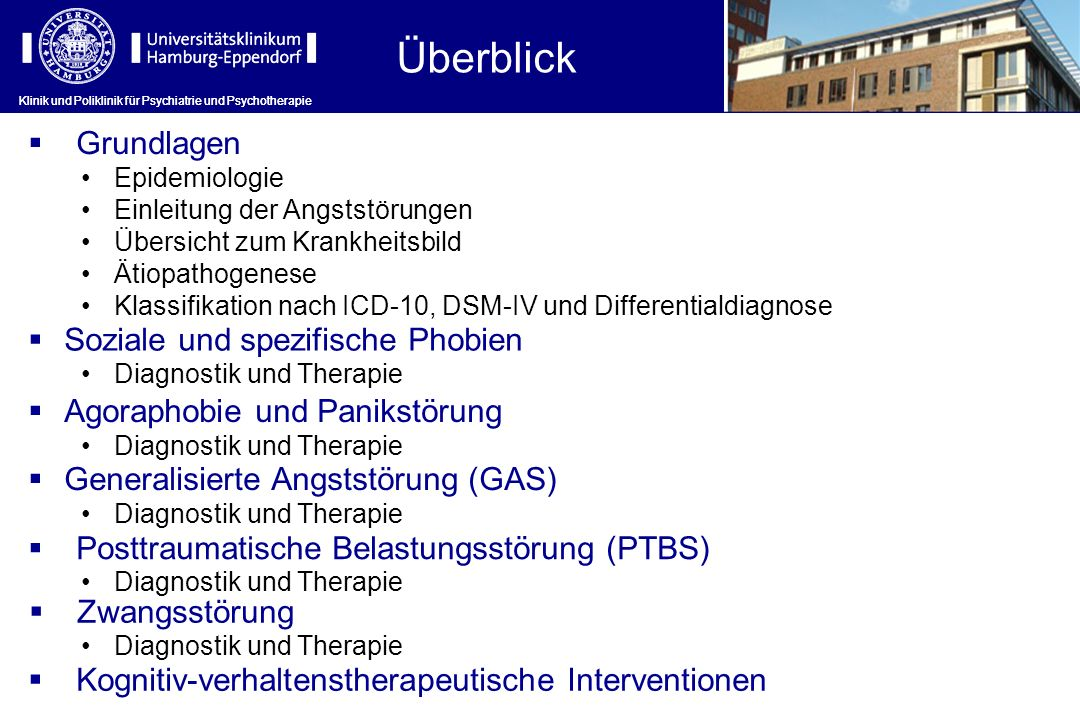 Krankheitsaspekt Panikstörung/ Agoraphobie Generalisierte Angststörung Soziale Phobie Spezifische Phobie Leitlinien Evidence-based Guidelines for the Pharmacological Treatment of Anxiety Disorders: Recommendations from the British Association for Psychopharmacology World Federation of Societies of Biological Psychiatry (WFSBP) Guidelines for the Pharmacological Treatment of Anxiety, Obsessive-Compulsive and Post-Traumatic Stress Disorders – First Revision National Institute for Health and Clinical Excellence (NICE).