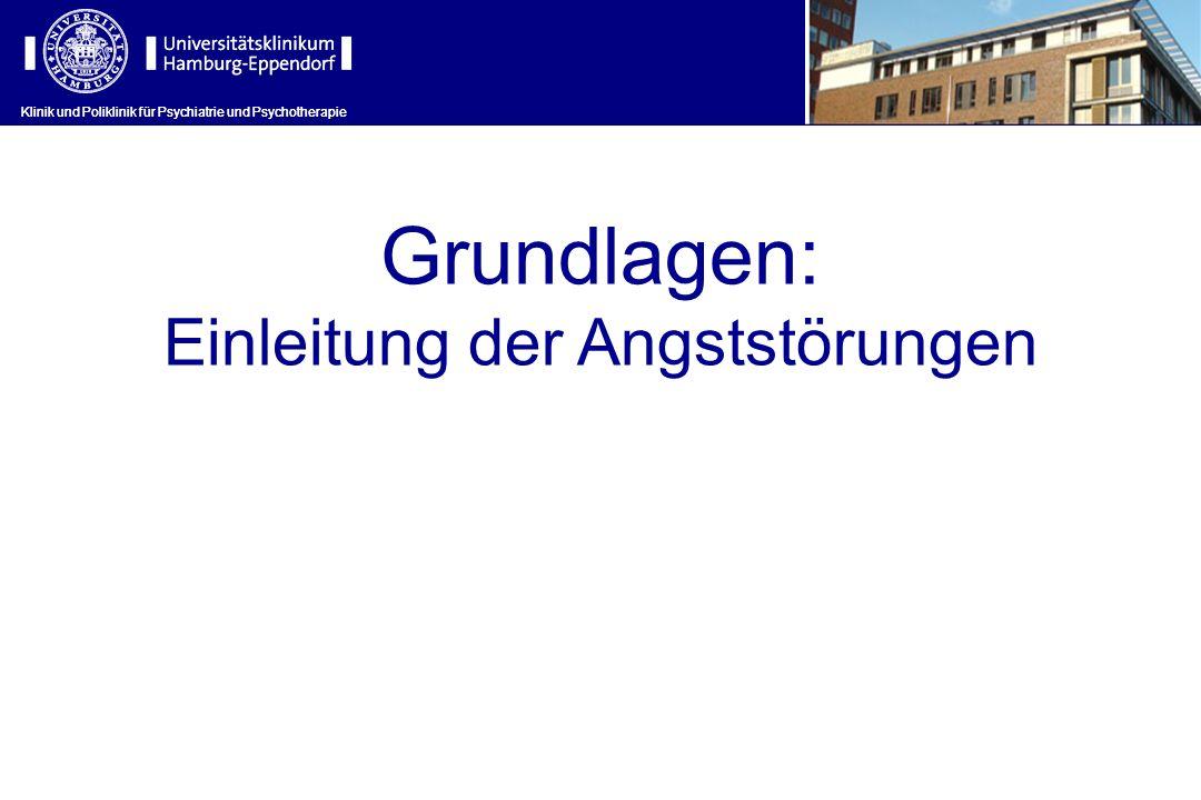 Klinik und Poliklinik für Psychiatrie und Psychotherapie Grundlagen: Einleitung der Angststörungen Klinik und Poliklinik für Psychiatrie und Psychotherapie