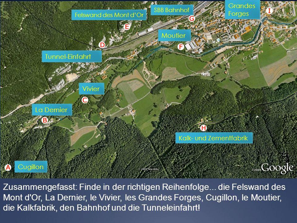 Zusammengefasst: Finde in der richtigen Reihenfolge... die Felswand des Mont d'Or, La Dernier, le Vivier, les Grandes Forges, Cugillon, le Moutier, di