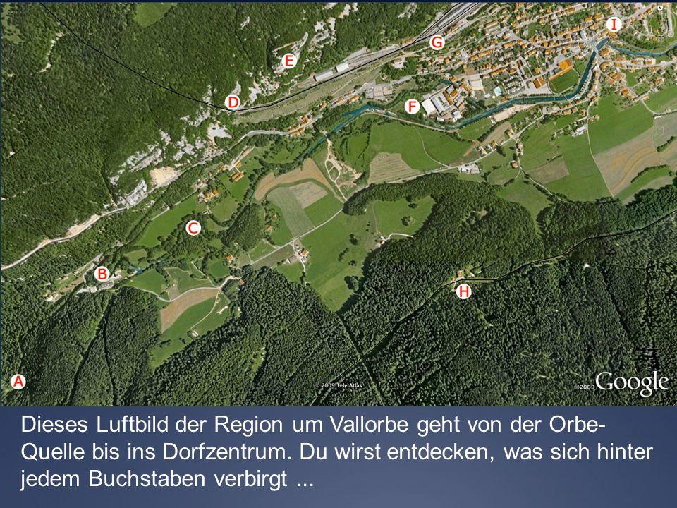Dieses Luftbild der Region um Vallorbe geht von der Orbe- Quelle bis ins Dorfzentrum. Du wirst entdecken, was sich hinter jedem Buchstaben verbirgt...