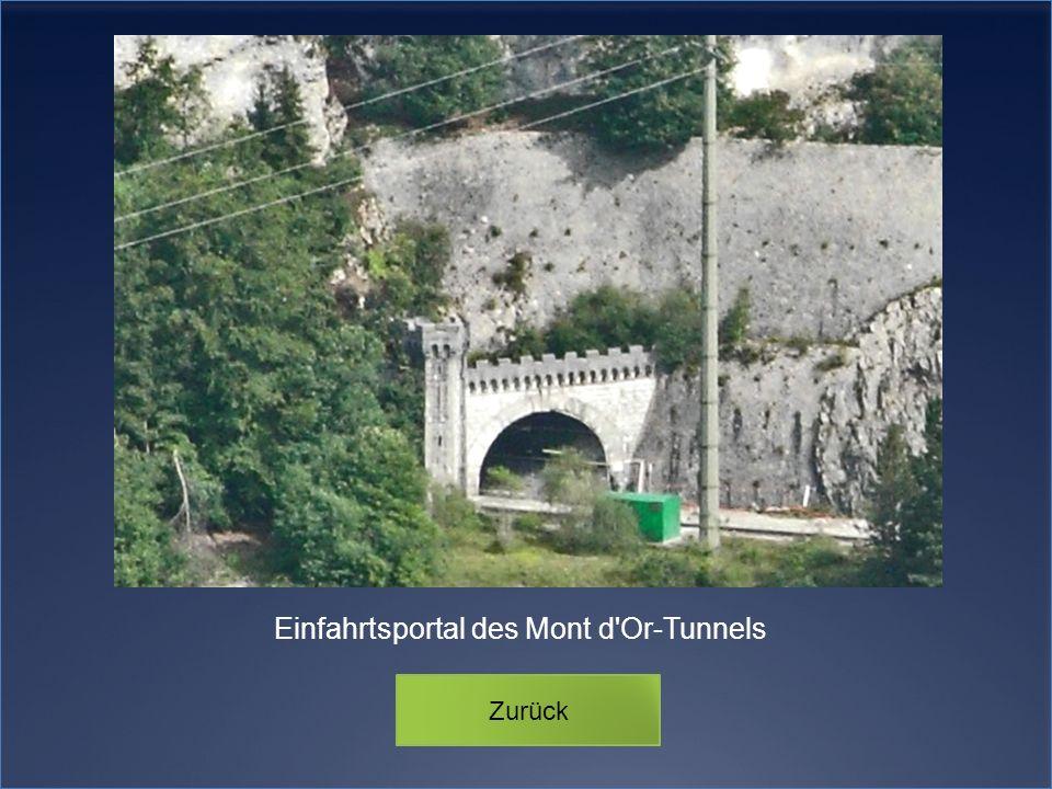 Einfahrtsportal des Mont d'Or-Tunnels Zurück