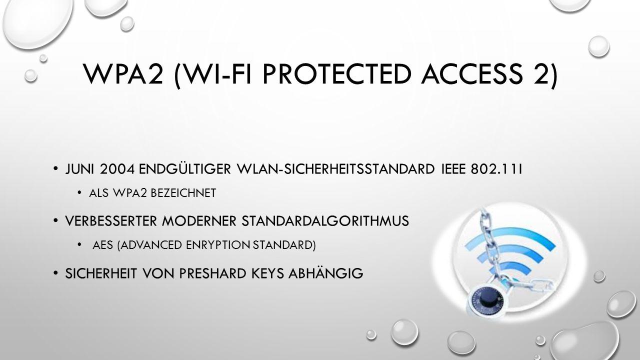 WPA2 (WI-FI PROTECTED ACCESS 2) JUNI 2004 ENDGÜLTIGER WLAN-SICHERHEITSSTANDARD IEEE 802.11I ALS WPA2 BEZEICHNET VERBESSERTER MODERNER STANDARDALGORITH