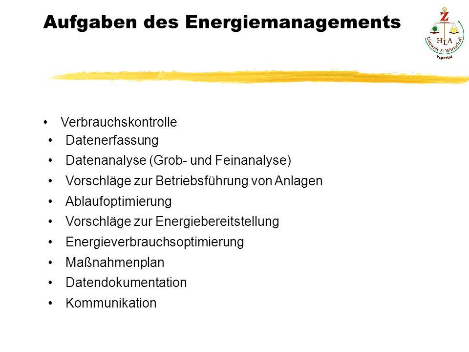 Verbrauchskontrolle Datenerfassung Datenanalyse (Grob- und Feinanalyse) Vorschläge zur Betriebsführung von Anlagen Ablaufoptimierung Vorschläge zur En
