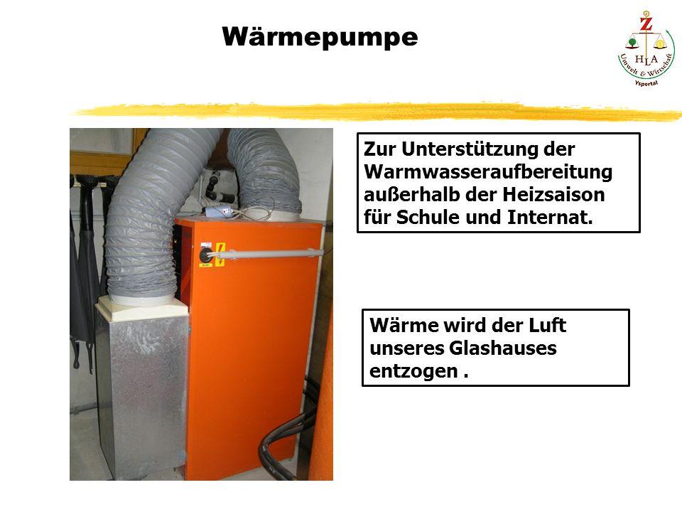 Wärmepumpe Zur Unterstützung der Warmwasseraufbereitung außerhalb der Heizsaison für Schule und Internat. Wärme wird der Luft unseres Glashauses entzo