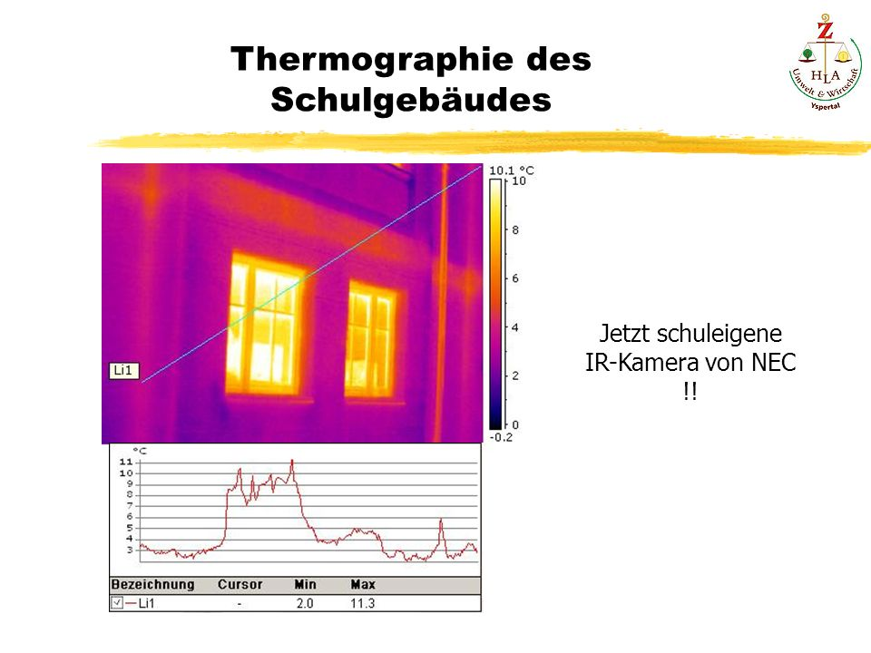Thermographie des Schulgebäudes Jetzt schuleigene IR-Kamera von NEC !!