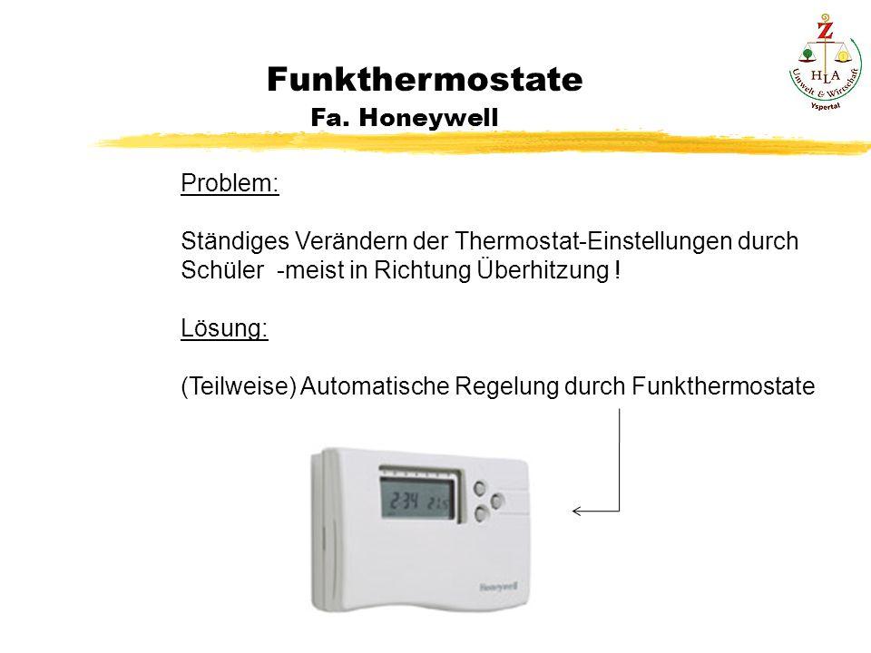 H Funkthermostate Fa. Honeywell PP Problem: Ständiges Verändern der Thermostat-Einstellungen durch Schüler -meist in Richtung Überhitzung ! Lösung: (T