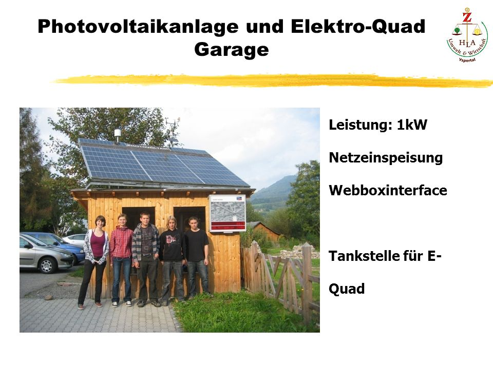 Photovoltaikanlage und Elektro-Quad Garage Leistung: 1kW Netzeinspeisung Webboxinterface Tankstelle für E- Quad