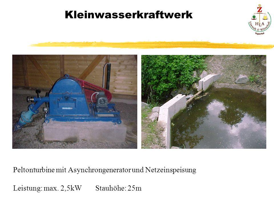 Kleinwasserkraftwerk Peltonturbine mit Asynchrongenerator und Netzeinspeisung Leistung: max. 2,5kWStauhöhe: 25m