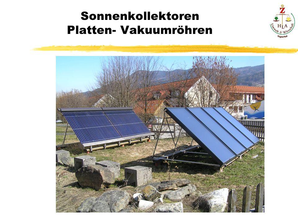 Sonnenkollektoren Platten- Vakuumröhren
