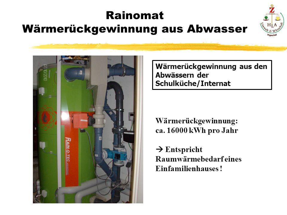 Rainomat Wärmerückgewinnung aus Abwasser Wärmerückgewinnung aus den Abwässern der Schulküche/Internat Wärmerückgewinnung: ca. 16000 kWh pro Jahr Entsp