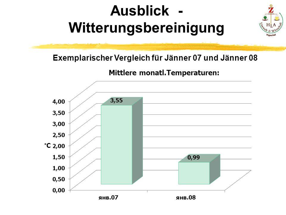 Ausblick - Witterungsbereinigung Exemplarischer Vergleich für Jänner 07 und Jänner 08