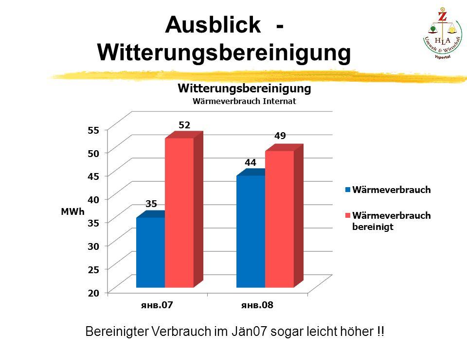 Ausblick - Witterungsbereinigung Bereinigter Verbrauch im Jän07 sogar leicht höher !!